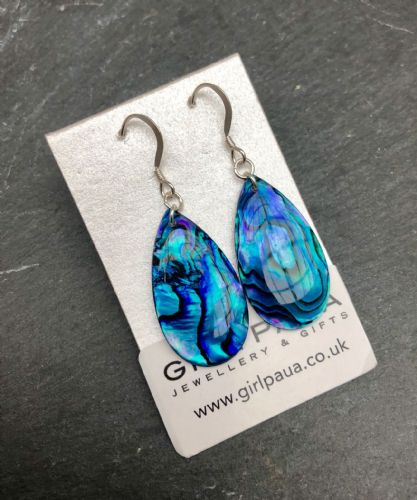 Paua Blue Earrings Waterdrop PE18